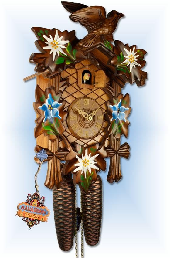 Adolf Herr   372/1MT   12''H   Alpine Flowers   Traditional   cuckoo clock   angle 1