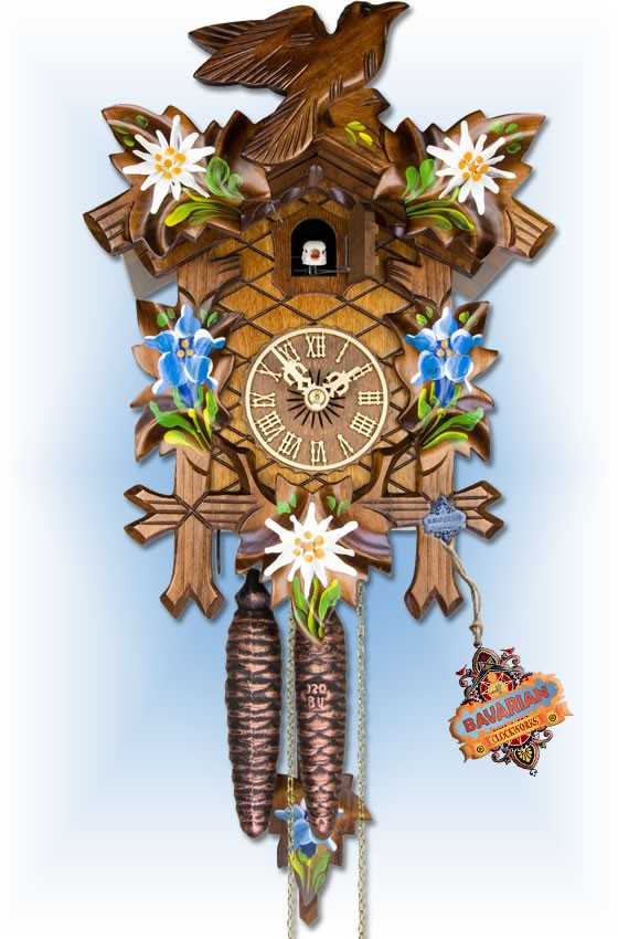 Adolf Herr | 100/8 | 12''H | Alpine Floral | Traditional | coo coo clock | full view