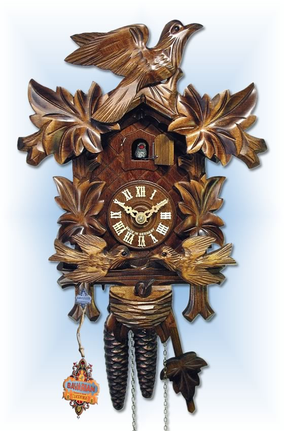 August Schwer   1.0074.01.C   13''H   Moving Birds   Traditional   1 Day   cuckoo clock   full view