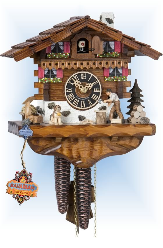 Hones | 149 | 9''H | Wood Chopper | Chalet style | cuckoo clock | full view