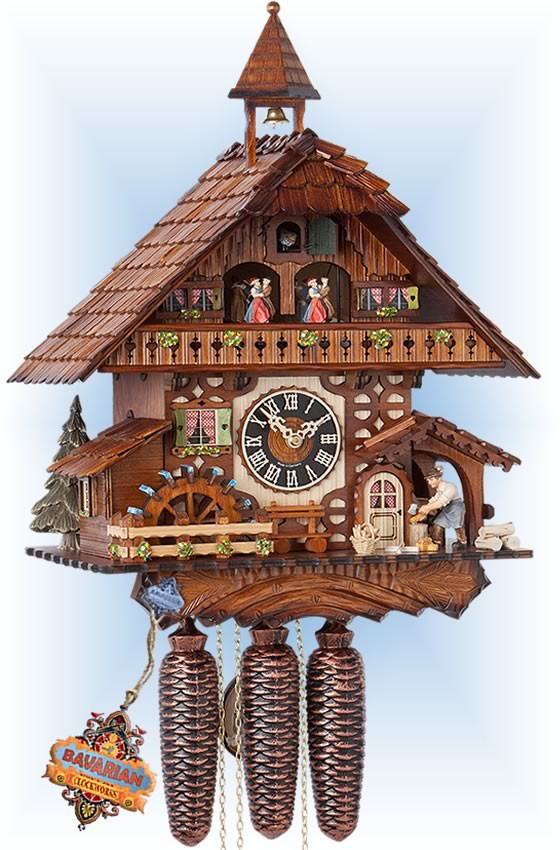 Hones | 86787t | 18''H | Chopper Mill | Chalet style | cuckoo clock | full view