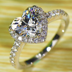 NSCD Simulated Heart Shaped Diamond Wedding Engagement Ring