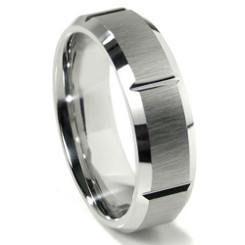 8mm Tungsten Carbide Ridged Wedding band w/ Brushed Center