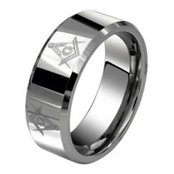 8mm Tungsten Carbide Master Mason Masonic Wedding Band W/ Square & Compass
