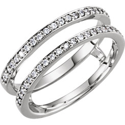 14K White Gold 1/5CT Diamond Drop in Guard