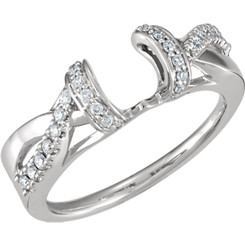 14K White Gold 1/5CT Round Diamond Crossover Wrap