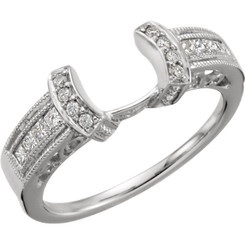 14K White Gold 1/4CT Round Diamond Filigree Wrap