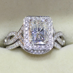 14K White Gold 1.8CT Eternal Moissanite Radiant Cut Moissanite Halo Crossover Wedding Engagement Ring Set - Band Included