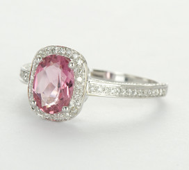 14K White Gold Pink Tourmaline Oval Cut & Diamond Halo Ring