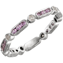 14K White Gold Pink Sapphire & Diamond 1/10CTW Diamond Eternity Band Size 6