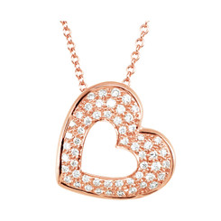 "14K Rose Gold Diamond Heart Pendant 1/4CTW & 16"" Cable Chain"