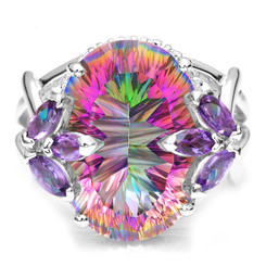 .925 Sterling Silver Mystic Topaz Oval & Amethyst Statement Ring