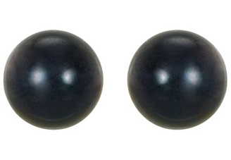 14K White Gold 7mm Black Akoya Cultured Pearl Stud Earrings