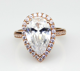14K Rose Gold 3CT NSCD Simulated Pear Shaped Halo Simulated Diamond Wedding Engagement Ring