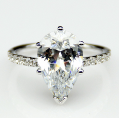 3.5CTW 3CT Center Pear Shaped NSCD Simulated Diamond Wedding Engagement Ring