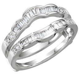 14kt White 1/2 CTW Baguette & Round Cut Diamond Guard Ring