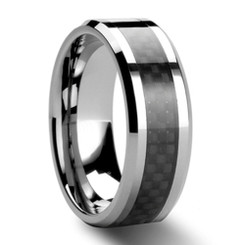 8mm Tungsten Carbide Wedding Band w/ Carbon Fiber Inlay