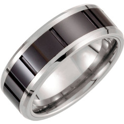 Tungsten 8.3mm Band with Ceramic Inlay Wedding Band