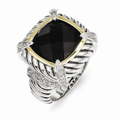 Shey Couture™ Sterling Silver 14k Black Onyx & .02ct. Diamond Ring