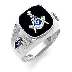 14K White Gold Master Mason Masonic Harvey & Otis Blue Lodge Ring with Wide Shank