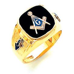 14K Yellow Gold Master Mason Masonic Harvey & Otis Blue Lodge Ring with Wide Shank