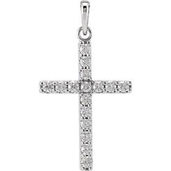 "14K White Gold 1/2CTTW Diamond Cross Pendant w/ 18"" Cable Chain"