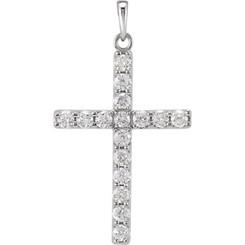 "14K White Gold 1CTTW Diamond Cross Pendant w/ 18"" Cable Chain"
