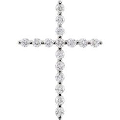 "14K White Gold 1/2CTTW Diamond Cross Pendant Prong Set w/ 18"" Cable Chain"