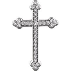 """14K White Gold 1/4CTTW Diamond Cross Pendant w/ 18"""" Cable Chain - Unique!"""