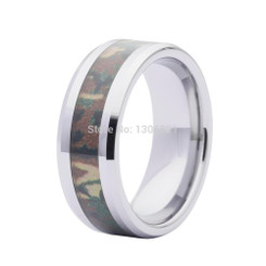 8mm Tungsten Carbide Camo Mens Wedding Band Mossy