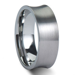 8mm Tungsten Carbide Brushed Concave Wedding Band W/ Brushed Top