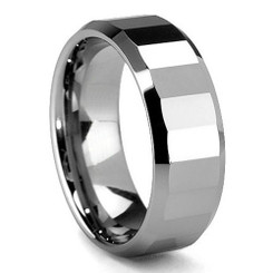 8mm Tungsten Carbide Polished Beveled Finish Wedding Band