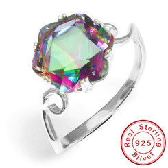 3.2ct Genuine Rainbow Fire Mystic Topaz Ring Solid 925 Sterling Silver