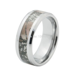 8mm Tungsten Carbide Camo Mens Wedding Band Mossy 4