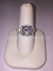 NSCD Simulated Diamond 2CT Center Cushion Cut 3CTTW w/ Halo & Trapezoid Baguette Side Stones w/ Matching Form Fit Band!  CUSTOM MADE!