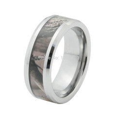 8mm Tungsten Carbide Camo Mens Wedding Band Mossy 5