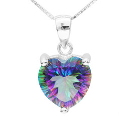 4CT Heart Shaped Mystic Topaz Sterling Silver Pendant Necklace