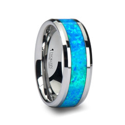 8mm Tungsten Carbide Ocean Blue Created Opal Inlay Wedding Band