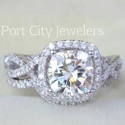 14K White Gold 2CT Center Forever One Moissanite Cushion Cut w/ Halo Pave Set Side Stones & Matching Form Fit Band