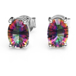 Mystic Topaz Oval Cut Stud Earrings Post Backs Sterling Silver .925