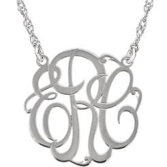 Custom Made 15mm 3-Letter Script Ladies Monogram Necklace
