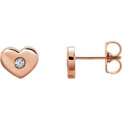 14kt Rose .06 CTW Diamond Heart Earrings