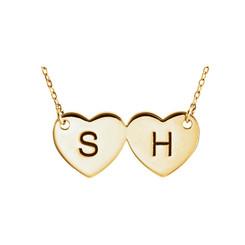 Ladies Custom Made Double Heart Pendant Necklace!