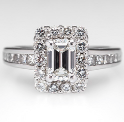 14K White Gold NSCD Simulated Diamond 1CT Emerald Cut Center Halo Engagement Wedding Ring - WOW!