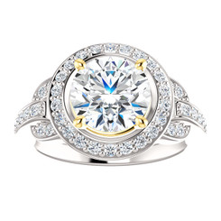14K White Gold 2CT Center Round Brilliant Cut NSCD Simulated Diamond & Genuine Diamond Sides Wedding Halo Engagement Ring - MADE TO ORDER