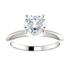 1CT = 6.5mm Forever One Moissanite Round Brilliant Cut Solitaire 14K White Gold