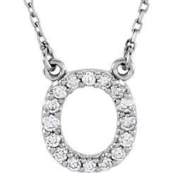 14K White Gold Diamond Initial Pendant