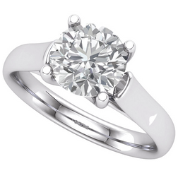 14K White 8mm = 2CT Round Forever Briliant Created Moissanite 4-Prong Woven Style Engagement Ring