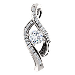 "14K White Gold ByPass Style 1/3CTTW Diamond Pendant with 1/4CT Center Round Diamond - 18"" Cable Chain"