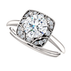 The Elizabeth Forever One Moissanite Solitaire Halo Engagement Ring Polished Sides